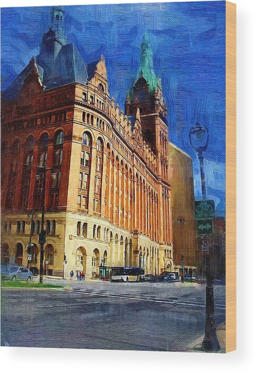 Architecture Wood Print featuring the digital art City Hall And Lamp Post by Anita Burgermeister