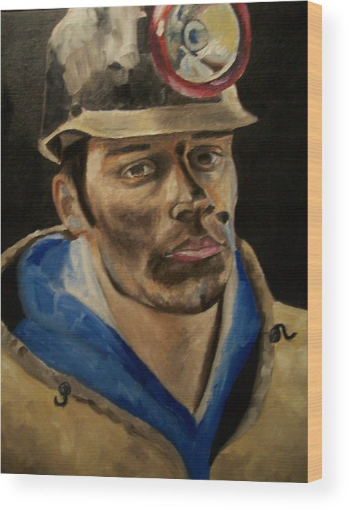 Coal Miner Paintings Wood Print featuring the painting Coal Miner by Mikayla Ziegler