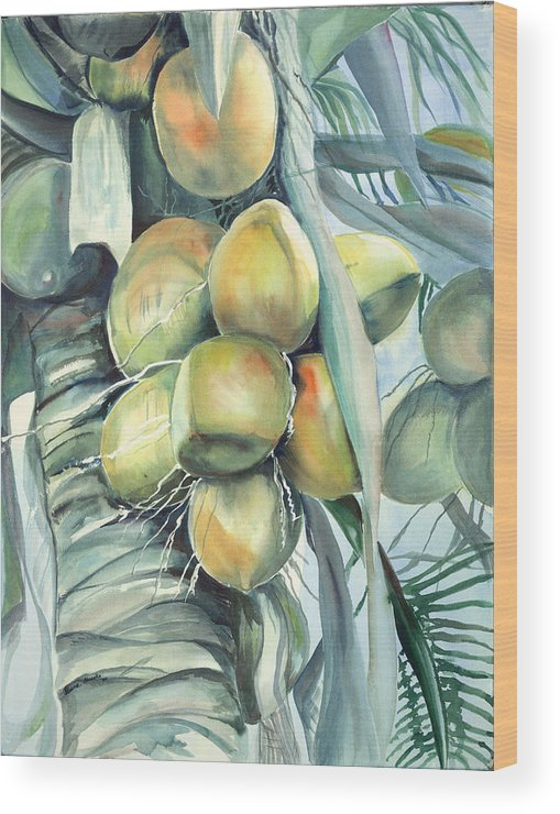 Coconut Palm Wood Print featuring the painting Coconuts by Ileana Carreno