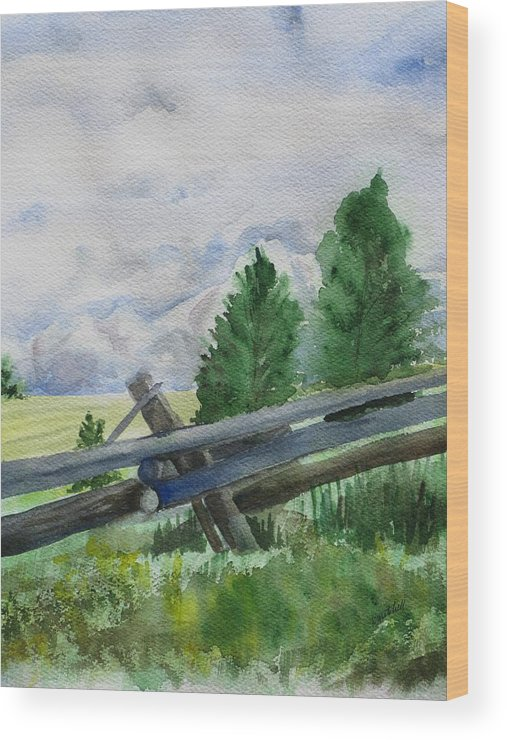 Landscape Wood Print featuring the painting Colorado Clouds by Kathy Mitchell