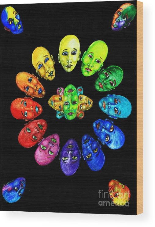 Color-wheel Color Theory Wood Print featuring the drawing Colorful Minds by Michael Cook