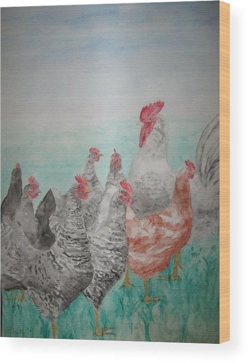 Chickens Wood Print featuring the painting Congregation by Diana Prout