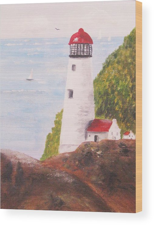 Lighthouse Wood Print featuring the painting Constant Guide by Trilby Cole