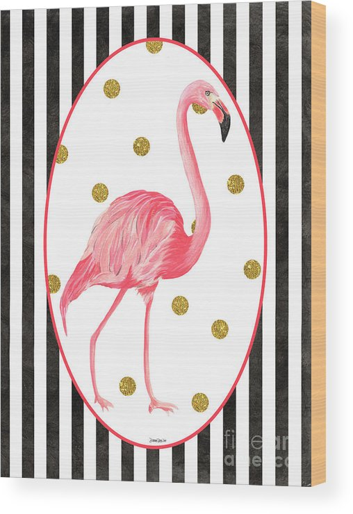 Flamingo Wood Print featuring the painting Contemporary Flamingos 2 by Debbie DeWitt