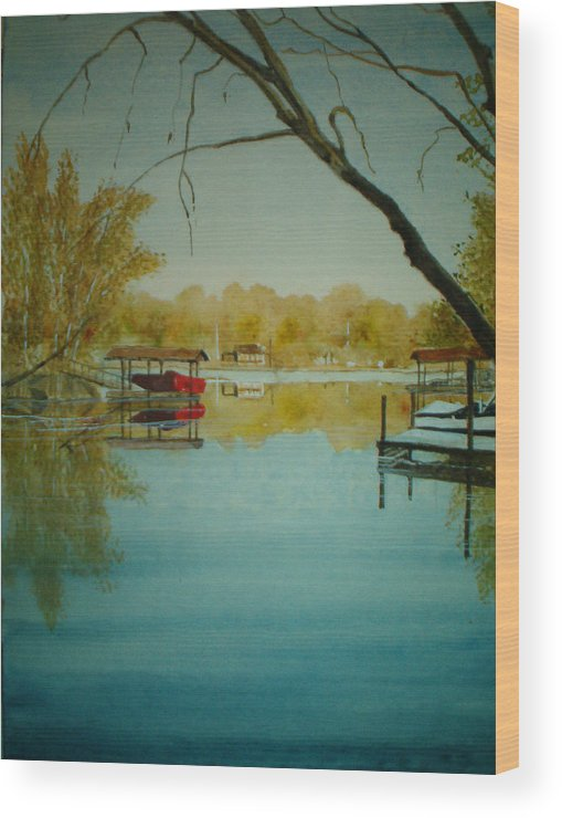 Landscape Wood Print featuring the painting Cove In Early Spring by Shirley Braithwaite Hunt