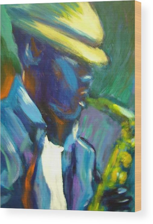 Sax Player Wood Print featuring the painting D by Jan Gilmore