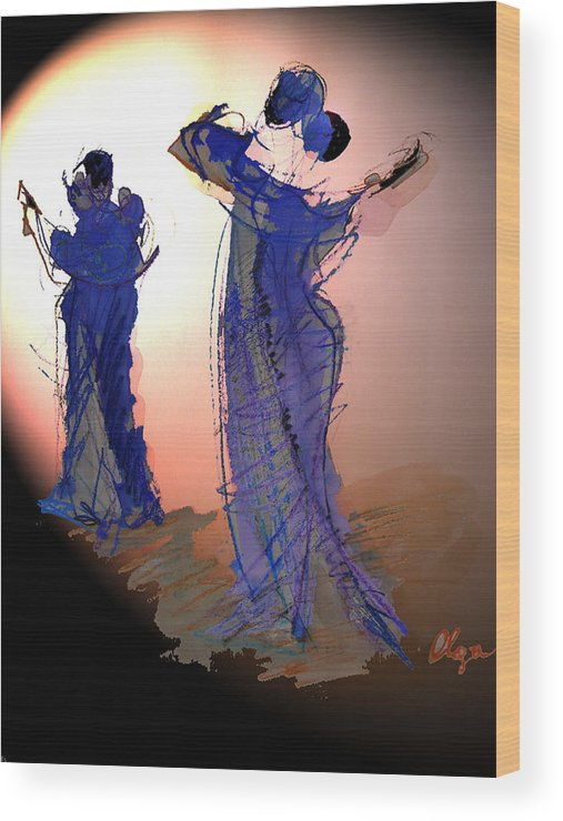 Tango Wood Print featuring the painting Dance In Purple by Olga Gernovski