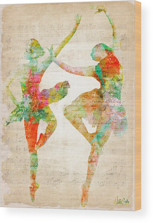 Ballet Wood Print featuring the digital art Dance With Me by Nikki Smith