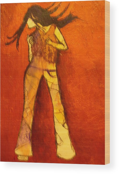 Portrait Wood Print featuring the painting Dancing In The Club by L Visser