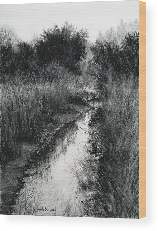 Charcoal Wood Print featuring the drawing Dawn Marsh by Keith Burgess