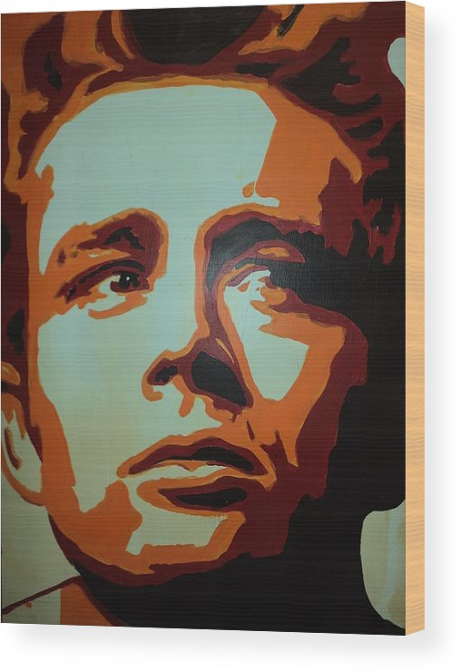 Pop Art Wood Print featuring the painting Dean by Grant Swinney