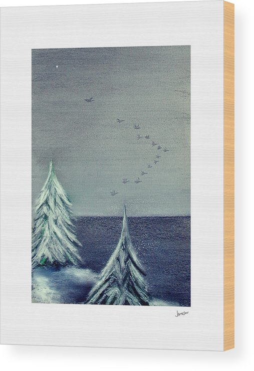 Winter Wood Print featuring the painting December Dawn by Gary Jameson