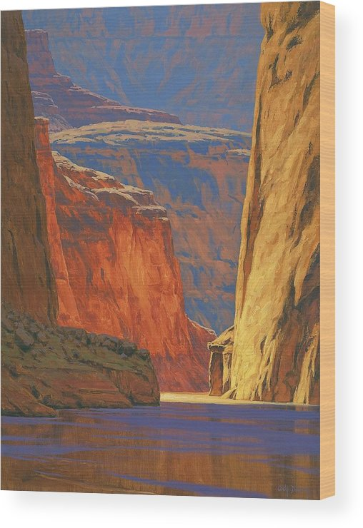 Grand Canyon Wood Print featuring the painting Deep In The Canyon by Cody DeLong