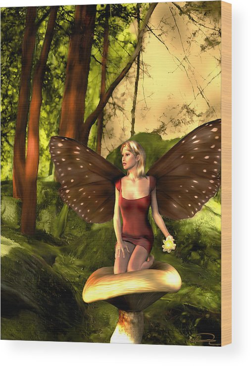 Fairy Wood Print featuring the painting Deep In The Forest by Emma Alvarez