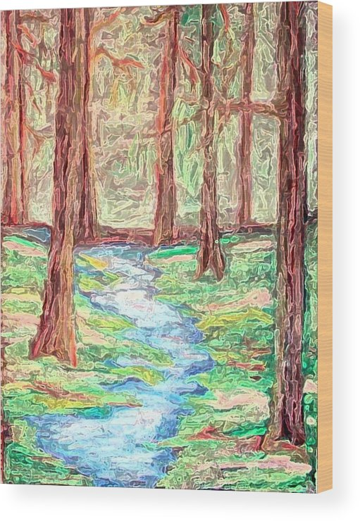 Landscape Wood Print featuring the digital art Deep In The Forest by Margie Byrne