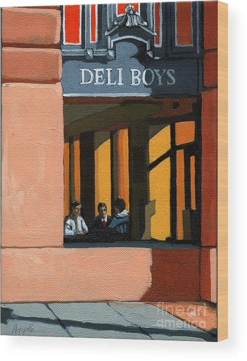 Cafe Wood Print featuring the painting Deli Boys - Cafe by Linda Apple