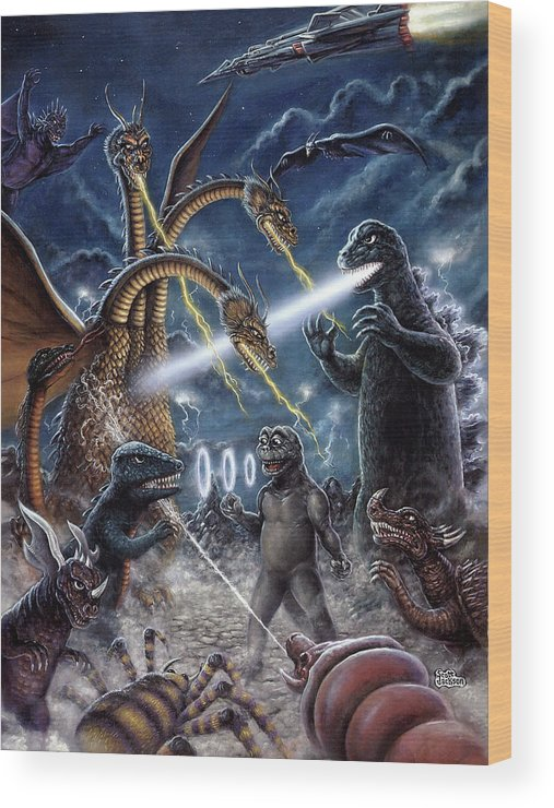 Art & Collectibles Wood Print featuring the painting Destroy All Monsters Godzilla Kaiju Battle Monster Island by Scott Jackson