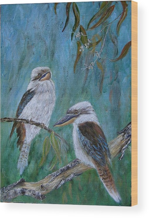 Birds Wood Print featuring the painting Did You Hear Something by Rita Palm
