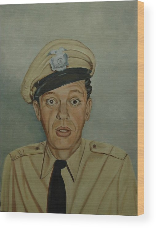Barney Wood Print featuring the painting Don Knotts As Barney Fife by Tresa Crain