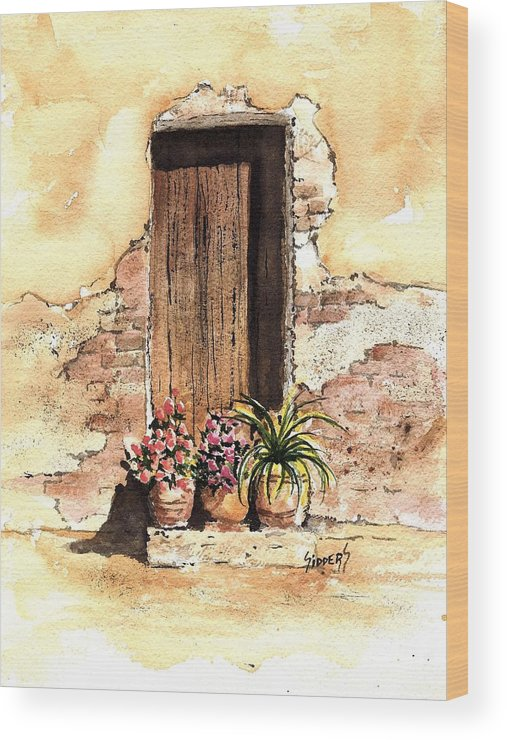 Door Wood Print featuring the painting Door With Flowers by Sam Sidders