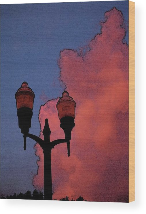 Clouds Wood Print featuring the photograph Downtown Lights by Laura Regier