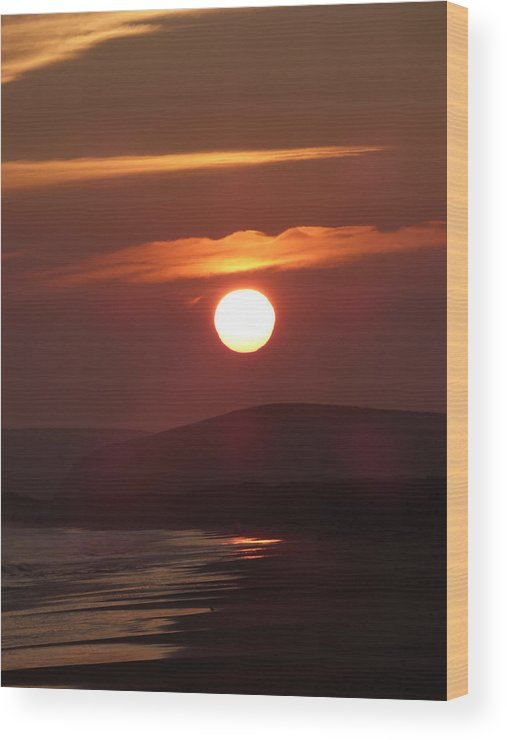Sunset Wood Print featuring the photograph Crimson Ocean Sunset by Andrea Freeman