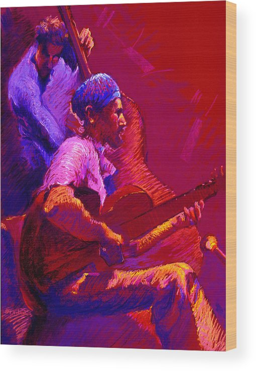 Music Wood Print featuring the painting Duet by Ellen Dreibelbis