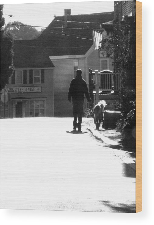 Street Scape Wood Print featuring the digital art Early Morning Walk by Donna Thomas