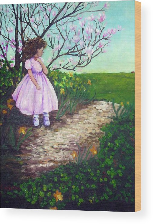 Landscape Child Girl Brunette Party Dress Flowers Impressionist Wood Print featuring the painting Easter In Hershey by Hilary England