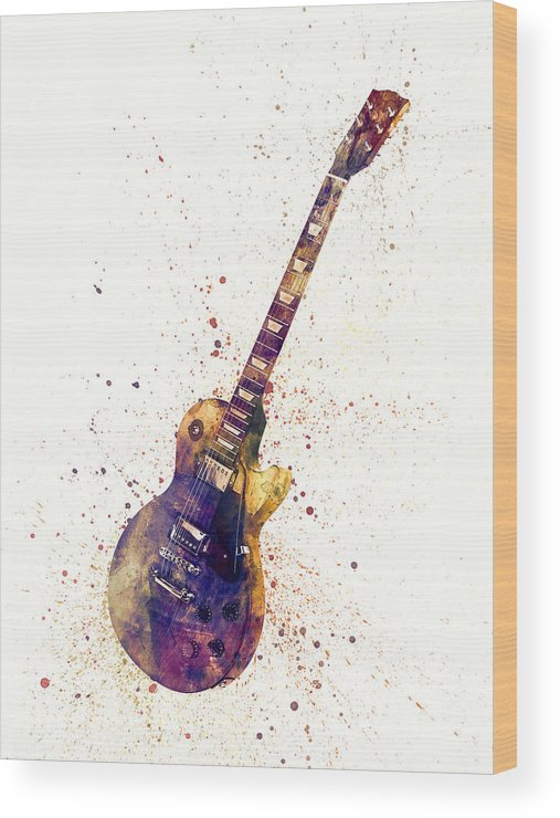 Electric Guitar Wood Print featuring the digital art Electric Guitar Abstract Watercolor by Michael Tompsett