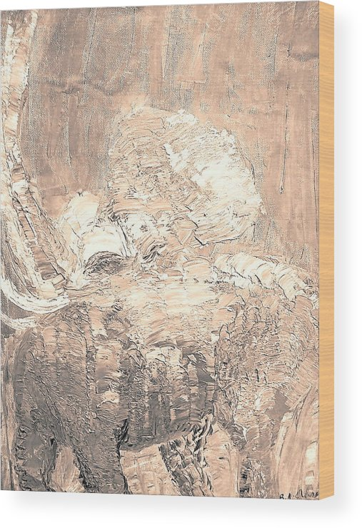 Animal Wood Print featuring the painting Elephant by BJ Abrams