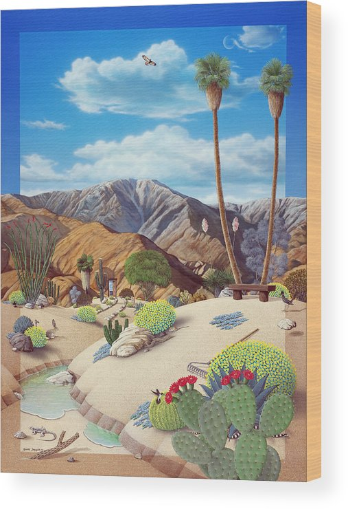 Desert Wood Print featuring the painting Enchanted Desert by Snake Jagger