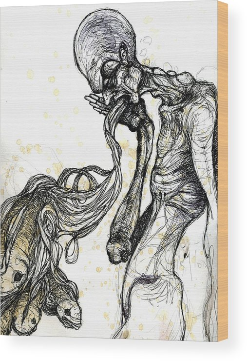 Figure Wood Print featuring the drawing Enlightenment by Mark M Mellon