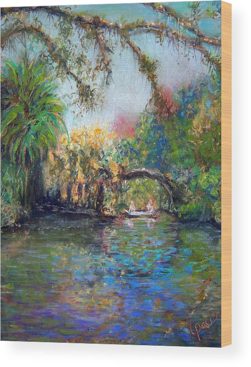 Koreshan State Park Wood Print featuring the painting Estero River At Koreshan by Laurie Paci