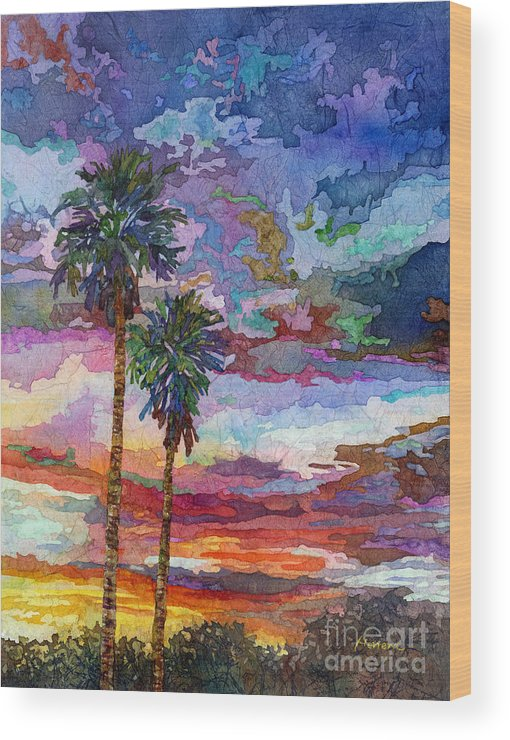 Sunset Wood Print featuring the painting Evening Glow by Hailey E Herrera