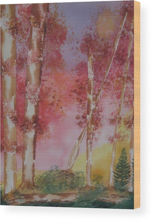 Landscape Fall Trees Watercolor Wood Print featuring the painting Fall Sunshine by Warren Thompson