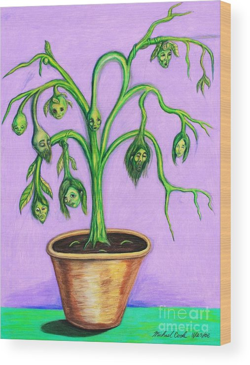 Surreal Tree Plant Wood Print featuring the drawing Family Tree by Michael Cook