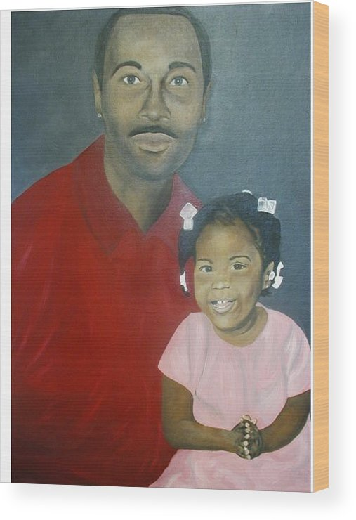 Portrait Wood Print featuring the painting Father And Daughter by Angelo Thomas