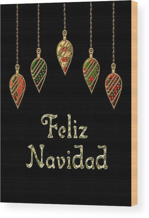 Red Wood Print featuring the digital art Feliz Navidad Spanish Merry Christmas by Movie Poster Prints