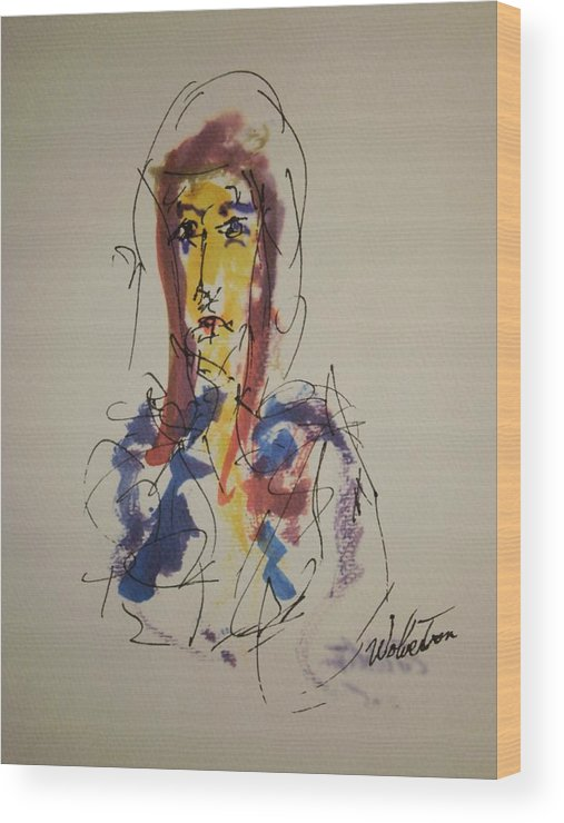 Portrait Wood Print featuring the painting Female Face Study S by Edward Wolverton