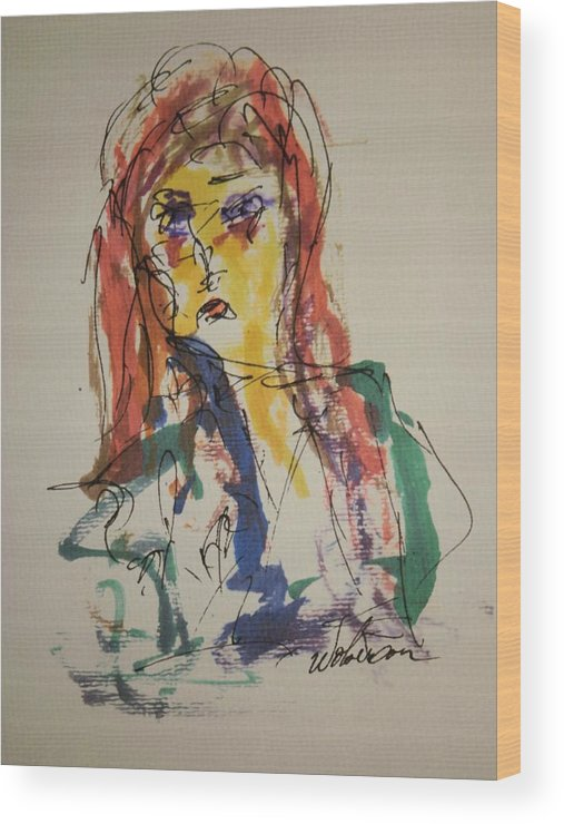 Portrait Wood Print featuring the painting Female Face Study V by Edward Wolverton