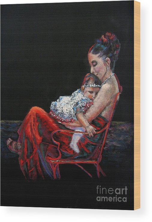 Mother Wood Print featuring the painting Fiesta Siesta by Shirley Leswick