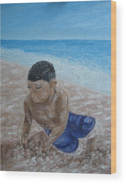 Beach Wood Print featuring the painting First Day At The Beach by Carrie Mayotte