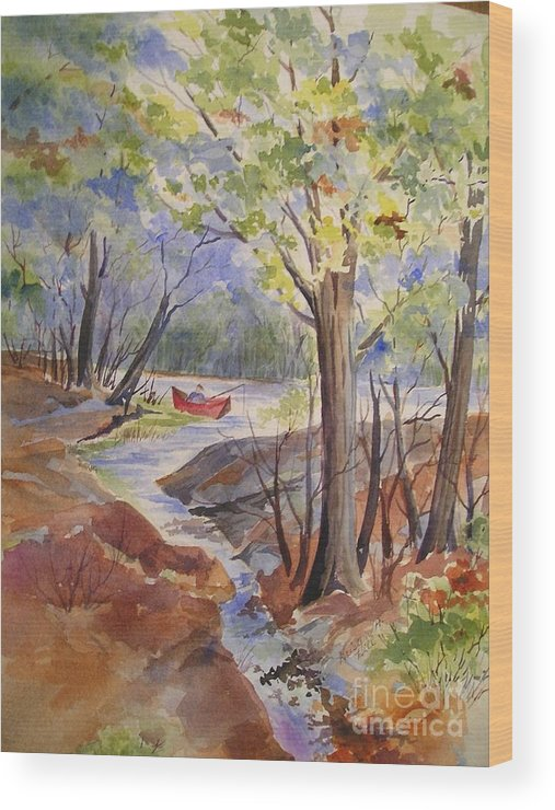 Fishing Wood Print featuring the painting Fishing Fun by Kristen Anderson Hill