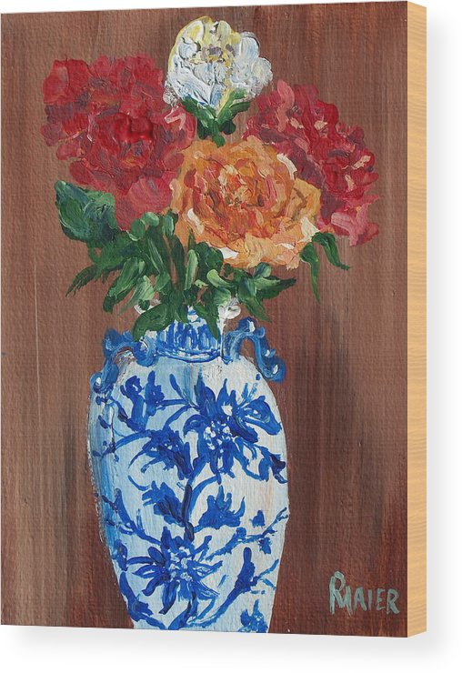 Floral Wood Print featuring the painting Five Roses by Pete Maier