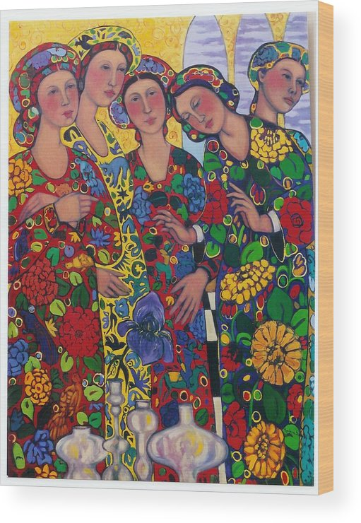 Five Women And The Iris Wood Print featuring the painting Five Women And The Iris by Marilene Sawaf