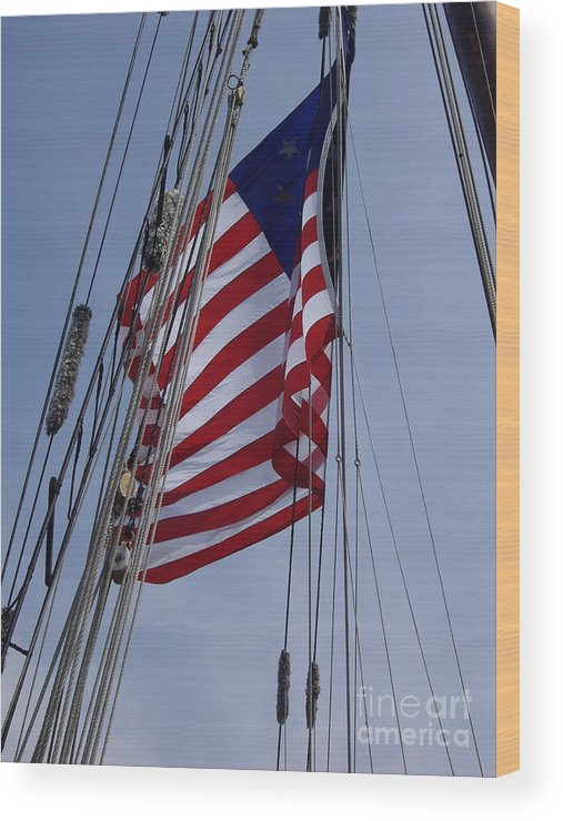 Blue Sky Wood Print featuring the photograph Flag Tall Ship by Carol Komassa
