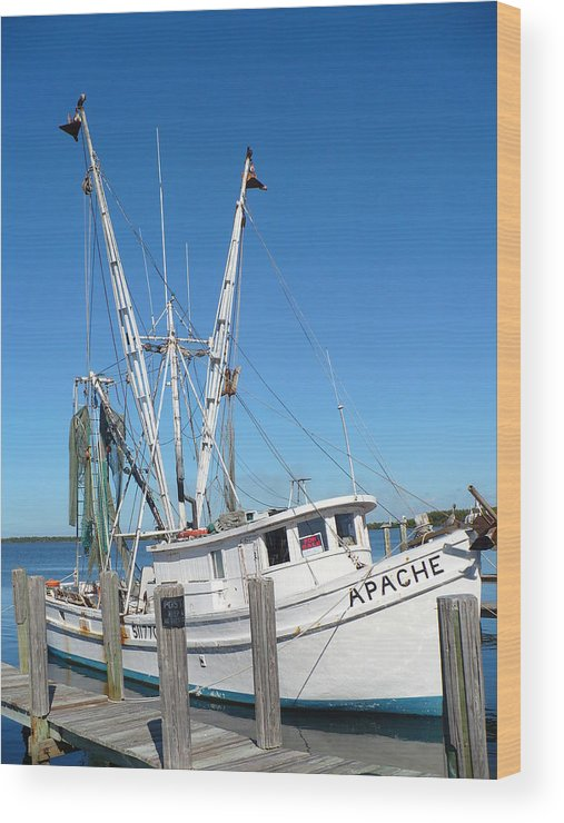 Boat Wood Print featuring the photograph Florida Shrimper by Florene Welebny