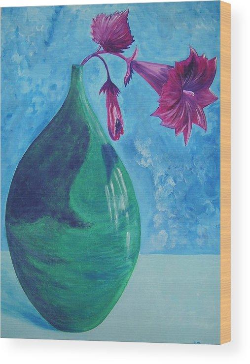 Flower Wood Print featuring the painting Flowerpot by Murielle Hebert