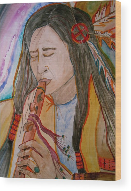 Original Art Wood Print featuring the painting Flute Player by K Hoover